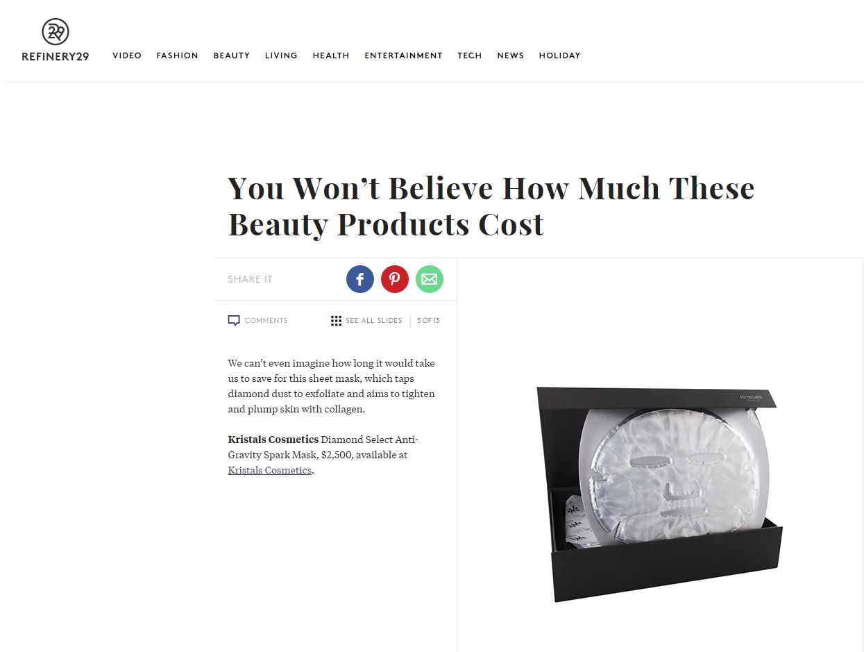 Refinery29 Features 2 Top Products from Kristals Cosmetics Diamond Mask