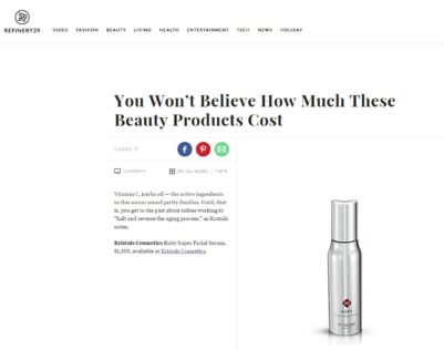 Refinery29 Features 2 Top Products from Kristals Cosmetics Ruby Serum